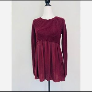 NWT Urban Outfitters Burgundy Sheer/knit Sweater